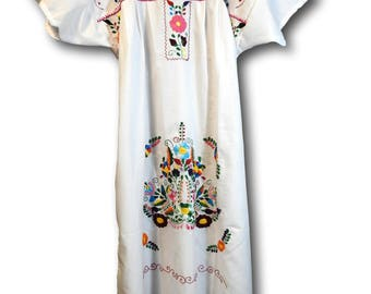 WHITE MEXICAN DRESS boho hippy  fiesta  hippie wedding  embroidered dresses clothes women mexicana cotton sundress bohemian  south american