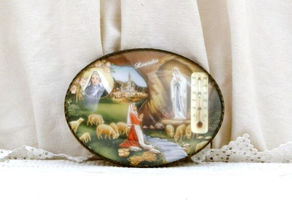 Vintage French Novelty Religious Thermometer with Picture of Bernadette Soubirous of Lourdes with Virgin Mary Apparition inside Domed Glass