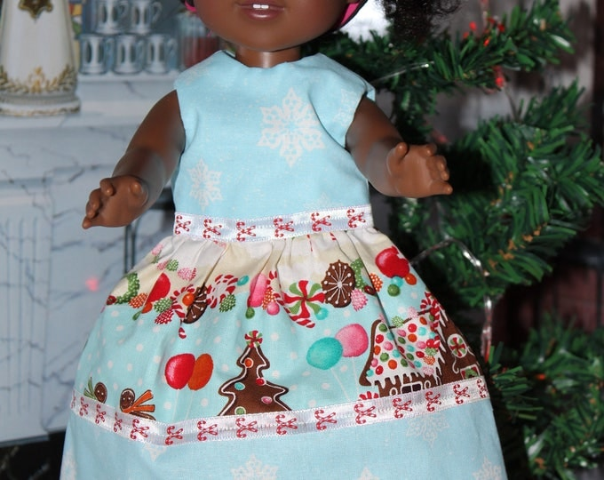 Blue Christmas Gingerbread  Dress and shoes. Handmade to fit the Dolls like the Willie wishers and other 14.5 inch Dolls. FREE SHIPPING