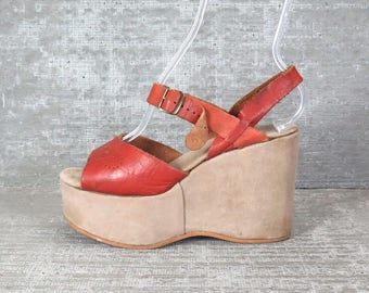 Vtg 70s leather suede platform wedge sandals 7.5