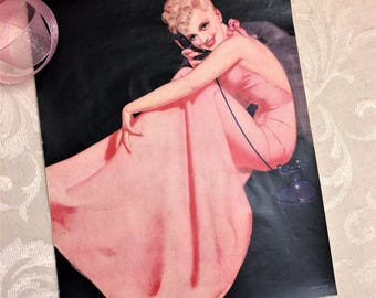 Gorgeous 1940s Blonde Pin Up Girl Print, Phone Telephone, Pink Evening Gown, Petty, Vintage Vanity Boudoir Pretty Lady Pink Black