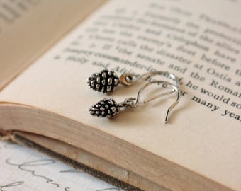 Tiny Pinecone Earrings - Silver Pinecone Jewelry - Nature Jewelry - Petite Earrings - Dainty Jewelry - Woodland Jewelry