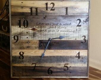 "24"" Anniversary Clock, Laser engraved wall clock, Industrial wall clock, reclaimed wood clock, huge pallet clock, wedding clock"