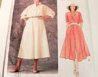 SALE 1980s Loose Fitting Shirtwaist Shirt dress Boho rolled up sleeves sewing pattern Adri Vogue 1351 Size 8 Bust 31.5""
