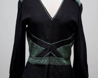 Vintage 1990s Silk Cacharel Hippie Bohemian Blouse 100% Silk Size Small