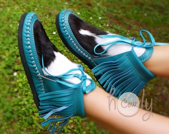 Turquoise Leather Moccasins With Hairy Cowhide, Turquoise Moccasin Boots, Womens Moccasins, Boho Moccasins, Hippie Moccasins, Cowgirl Boots