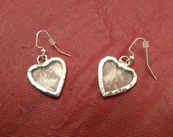 Stained Glass Heart Earrings, Lacy Heart Earrings, Valentines Day Gift, Romantic Gift, Dangle Drop Earrings, Heart Jewelry, Anniversary Gift
