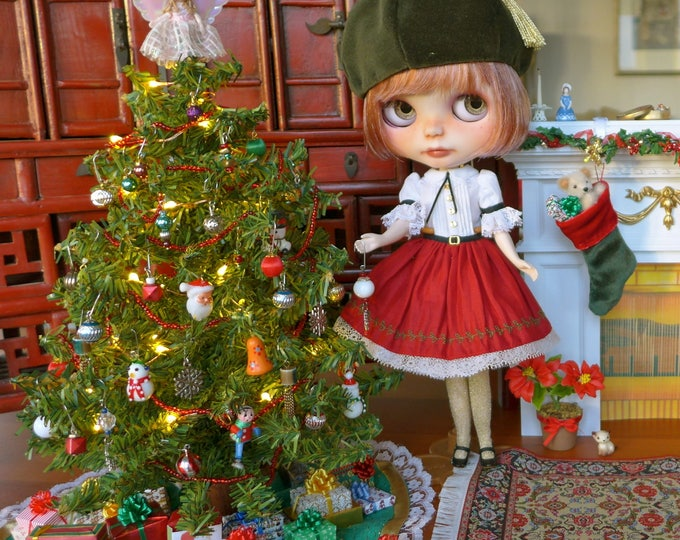 Featured listing image: Barbie Blythe Size Christmas Tree & Vintage Decorations