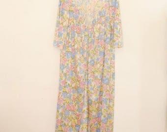 Floral Print Robe with Lace Inset - 1980s