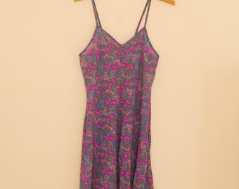 Floral Printed Stretch Lace Slip - Late 80s/Early 90s