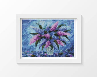 Cross Stitch Kit, Purple Fiesta Cross Stitch, Embroidery Kit, Art Cross Stitch, Floral Cross Stitch (ART031)