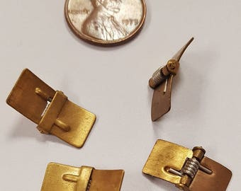 12 Vintage Spring Hinge 18x10mm. Brass Rectangle Findings N251