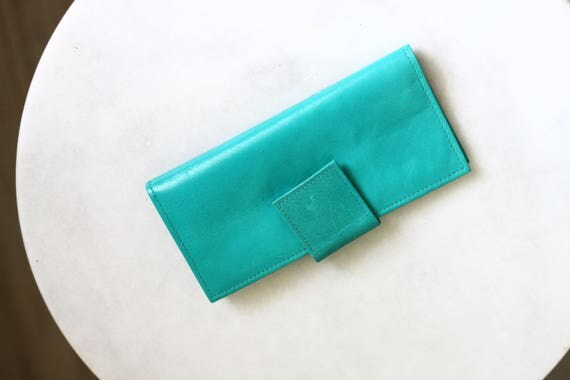 1960s Rolf green leather wallet // 1960s flat wallet // vintage wallet
