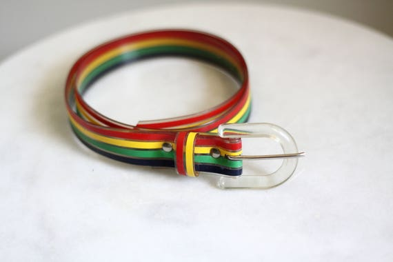 1980s plastic belt // vintage rainbow belt // vintage belt