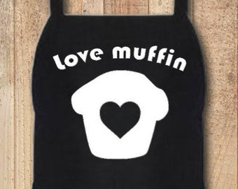 Funny Custom Personalized Kitchen Pun Aprons for Home, Crafts, Grilling, Cooking, BBQ Love Muffin