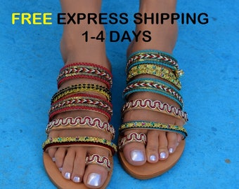 Handcrafted leather sandals, Boho sandals, Greek sandals, Boho chic sandals, Strappy sandals, Ethnic Leather Sandals ''Marrakesh''