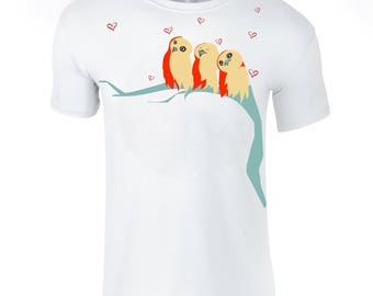 Valentines owls t shirt, men painted apparel, boyfriend present, husband gift, love tee shirt, gift for him
