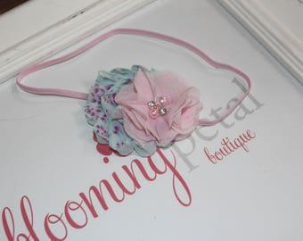 Pink and Aqua flower Shabby Chic Newborn/Infant Flower Headband