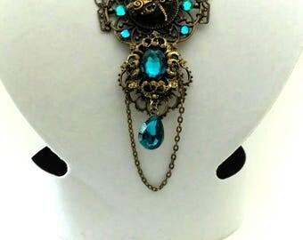 Art Nouveau Bronze Antique Dragonfly and blue rhinestone necklace