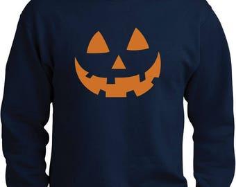 Orange Jack O' Lantern Pumpkin Face Halloween Costume Sweatshirt