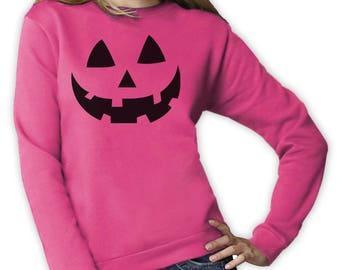 Smiling Pumpkin Face - Easy Halloween Costume Fun Women Sweatshirt