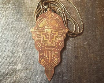 ANCIENT SUN PENDANT • brass tribal ethnic african mayan golden boho hippie sacred