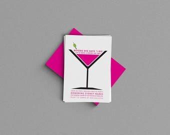Martini Manhattan Bridal Shower or Bachelorette Party Invitation