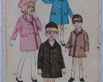 1960s Vintage Children's Coat Pattern Butterick 6773 Boys and Girls Outerwear Retro Winter Clothing