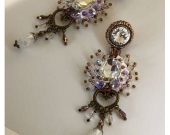 Long crystal earrings, bead embroidery fantasy earrings, white, statement earrings, beaded dangle, chandelier earrings, wedding