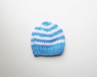 Baby Boy Knit Hat, 6 to 12 months, Knit Baby Hat, Baby Boy Beanie, Blue and White Baby Beanie, Knit Baby Beanie, Striped Baby Knitted Beanie