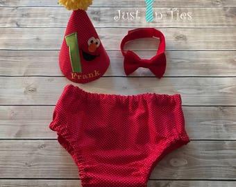 Elmo First Birthday Cake Smash Set Outfit