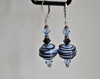 Gorgeous baby blue Lampwork Earrings