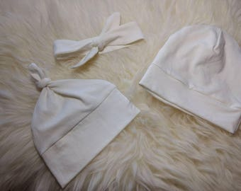 ORGANIC BAMBOO Baby Hat in Two Styles, Top Knot or Beanie, 9 Colors available, _ sizes