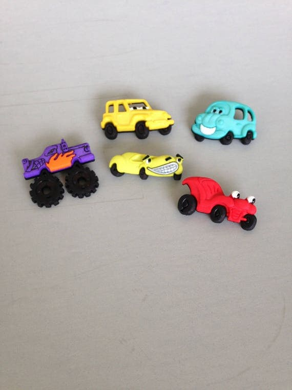 5 Whats under the hood animated racecar, jeep, cars and truck buttons and embellishments for scrapbooking, sewing and other crafts