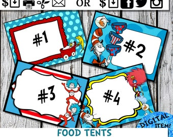Dr. Seuss Food Tents Cat in tha Hat thing 1 thing 2 Dr. Seuss inspired Party Ideas and Supplies