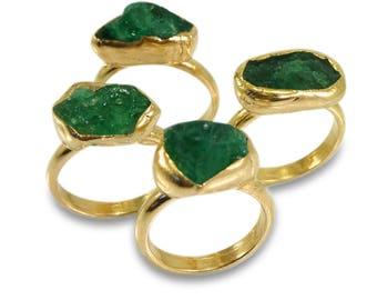 Raw Emerald Ring, Emerald ,Stacking Rings, May Birthstone, Stackable Ring, Raw Stone Ring, Stackable Gemstone Ring, Natural Emerald Ring.