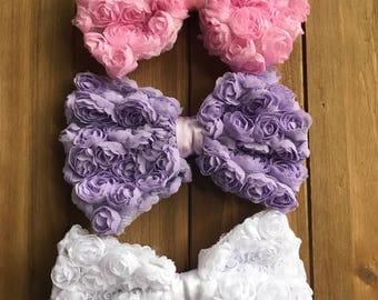 Shabby Floral Chiffon Bows