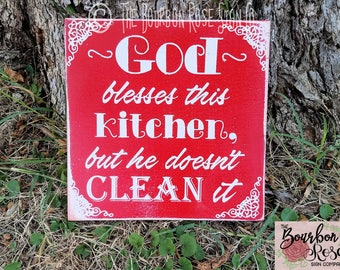 Custom Rustic Style Aged Sign - God Blesses This Kitchen - Choose your Colors