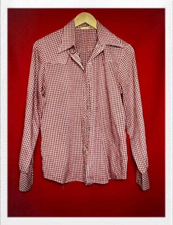 Vintage Women's Classic Western Gingham Blouse