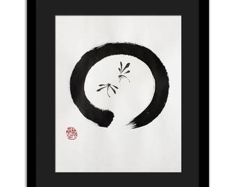 Enso dragonflies painting - original, not a print