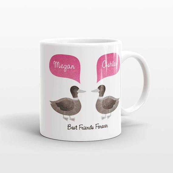 Best Friend Gift, Duck Mug, Personalized Best Friend Mug, Animal Best Friend Coffee Mug, Unique Friendship Gift Best Friend Birthday Gift
