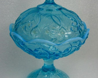 Fenton Blue Opalescent Lily Of The Valley Pedestal Covered Compote / Candy Dish