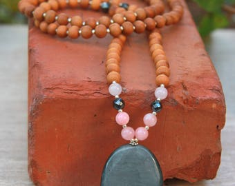 Cat's Eye Sandalwood Mala  - Mediation Inspired Yoga Beads BOHO chic / mala beads