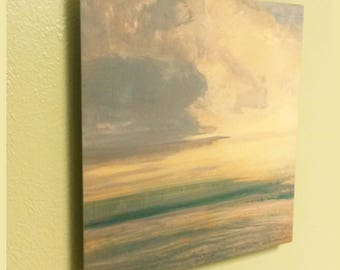 Metal Art Print 8x8 10x10 12x12 Abstract Sky Clouds Ocean Waves Painting Light Impressionism Grays Golden Tan Green Float Mount Square Decor