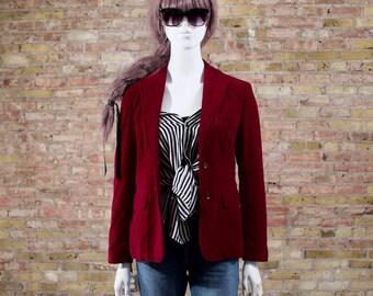 velvet blazer / burgundy blazer / velour jacket / velvet jacket / 70s women blazer / menswear inspired / cabernet / long line blazer