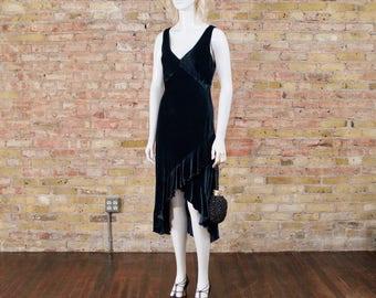teal velour slip dress / velvet dress / bias cut dress / midi dress / ruffle hem dress / plunging neck dress / grunge / velvet slip dress