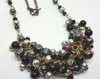 Beaded cluster necklace glass pearls black chunky statement