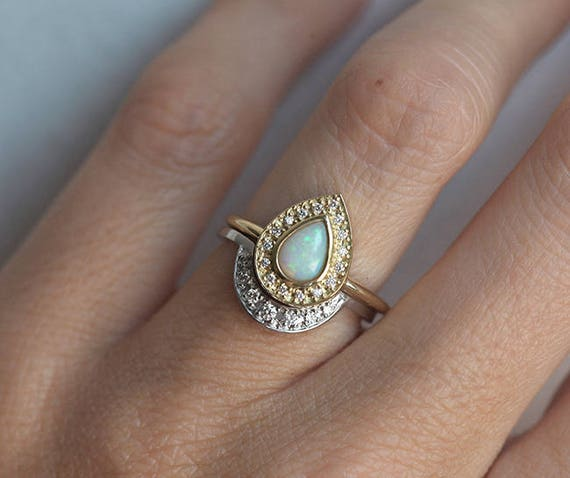 opal engagement ring set opal ring with curved diamond band opal wedding ring set