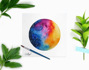 Original Watercolor Galaxy Painting. Circular Space Wall Art. Sunset Wall Hanging Interior Decor. Outer Space Constellation.