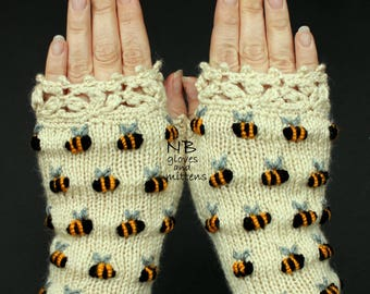 Ivory Hand Knitted Fingerless Gloves With Bees, Embroidery, Gloves & Mittens, For Her, Winter Accessories, Anniversary Gift, Gift For Woman